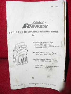 Sunnen pg-810-e precision gage/fixtures/fingers manual